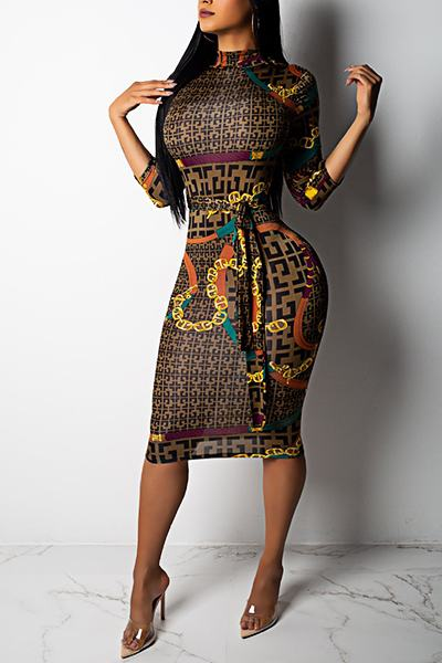 Geometric Print 3/4 Length Sleeve High Neck Knee-Length Pencil Dress