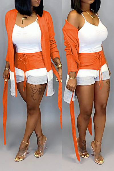 Retro Long Sleeve Color Block Coat & Shorts Set With Belt