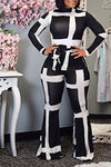 Cool Long Sleeve Turtle Neck Abstract Print Long Set With Belt