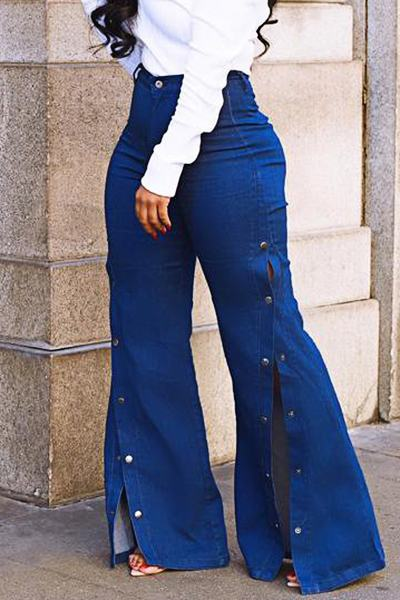 Rocking Medium Rise Loose Fit Blue Long Poppers Jeans