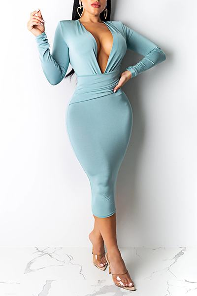 Elegant Long Sleeve Deep V Neck Solid Color Midi Dress