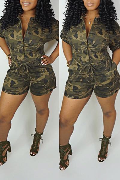 Camouflage Short Sleeve Shirt Collar Playful Tie Front Short Romper
