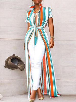 Stripe Slit Shirt Dress