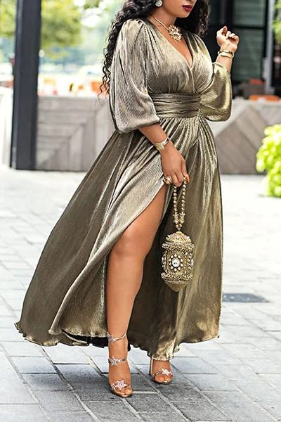 Feminine Puff Sleeve V Neck Dark Gold Calf-Length Dress