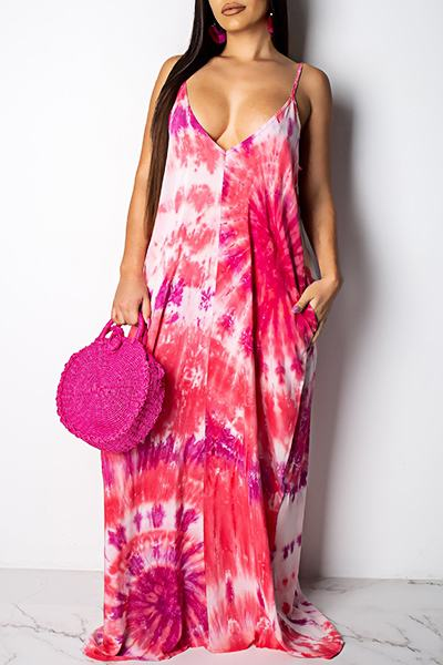 Beachy Sleeveless Spaghetti Strap Leaf Print Maxi Dress