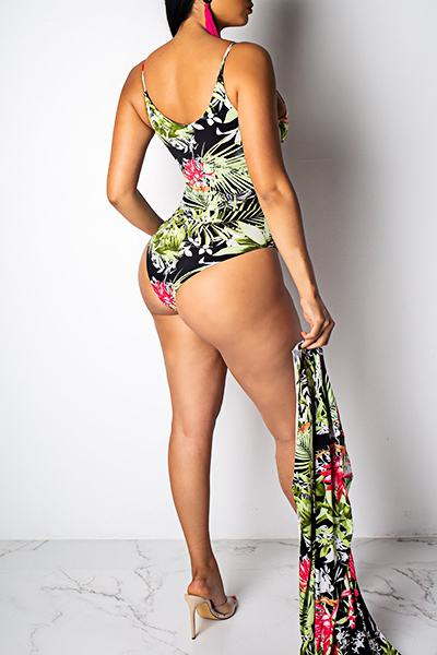Colorful Long Sleeve Floral Print Cover-Up & One Piece Swimsuit