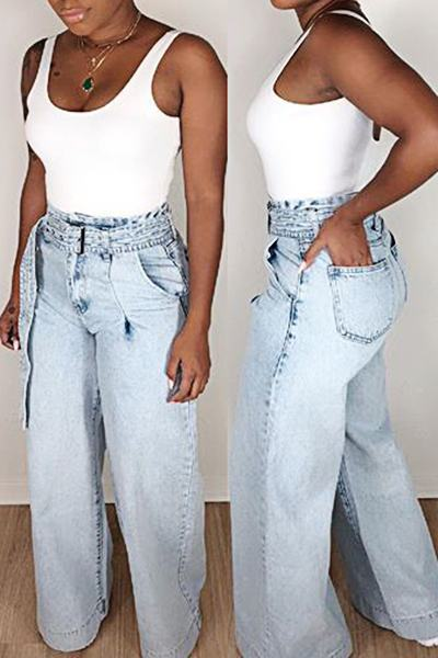 Stylish High Rise Wide Leg Bleached Long Jeans With Belt