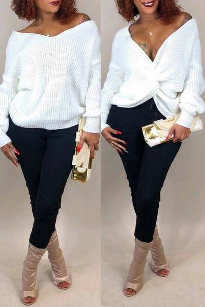 Chic Long Sleeve Reversible Twisted Open Back Plain Sweater