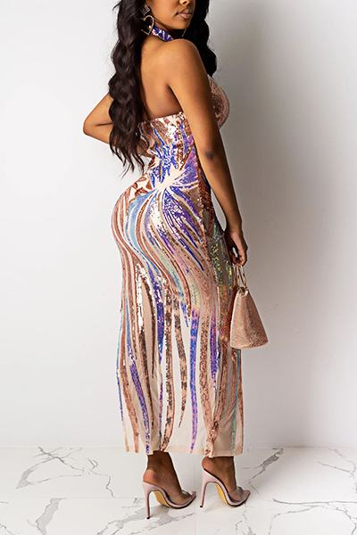 Pretty Halter Neck Abstract Embroidery Dress & Bodysuit Set