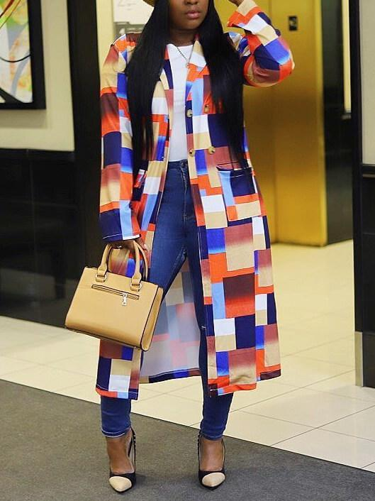 Colorblock Trench Coat