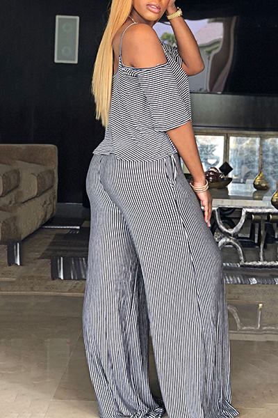 Casual Short Sleeve Cold Shoulder Striped Long Layered Jumpsuit