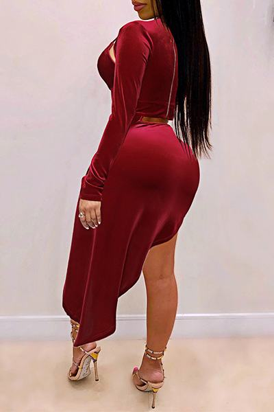 Dramatic Long Sleeve Keyhole Bust Solid Color Cutout Dress