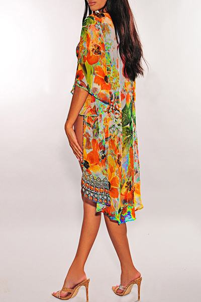 Tropical Halter Neck Tribal Print One Piece Swimsuit & Cover Up Robe