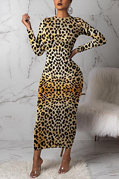Sweet Long Sleeve Round Neck Leopard Print Midi Dress