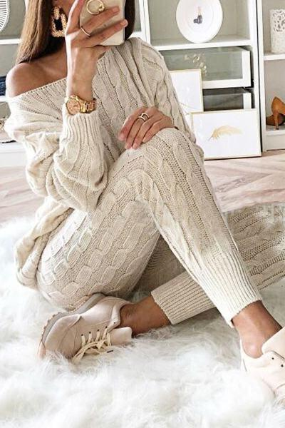Romantic Long Sleeve Slash Neck Zig Zag Sweater Set