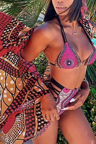Oriental Half Sleeve Halter Neck Tribal Print Three Piece Swimsuit