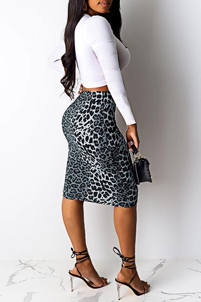 Elegant Long Sleeve Leopard Print Cropped T-shirt & Skirt Set