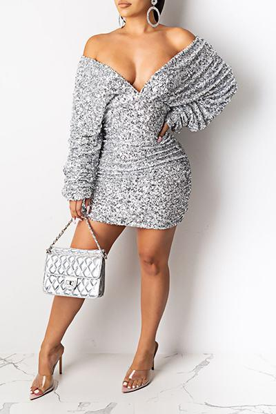 Glistening Puff Sleeve Off Shoulder Silvery Sequins Party Dress