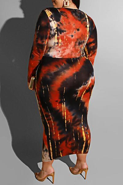Classic Long Sleeve Tie Dye Calf-Length Knotted Plus Size Dress