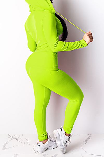 Sporty Long Sleeve Hooded Solid Color Two Piece Set