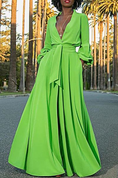 Romantic Puff Sleeve V Neck Solid Color Maxi Dress With Belt