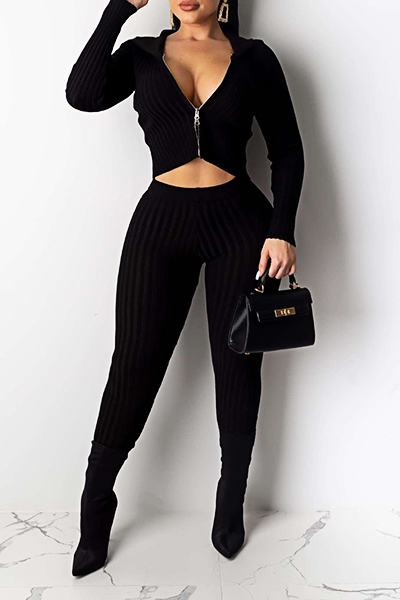 Romantic Long Sleeve Hooded Plain Short Zipper Set
