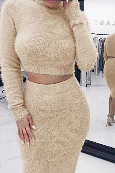 Smart Long Sleeve High Neck Solid Color Cropped Sweater & Skirt Set