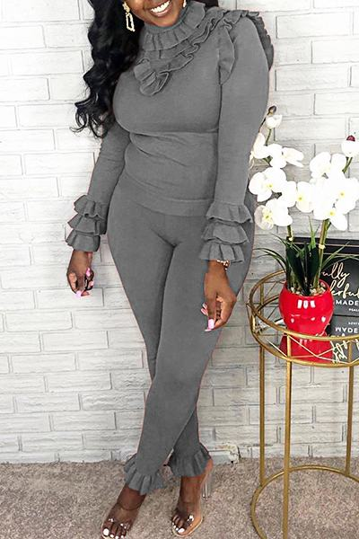 Pretty Long Sleeve Turtle Neck Plain Ruffles Set