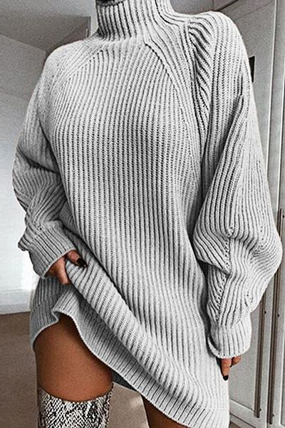 Romantic Long Sleeve High Neck Plain Thigh-Length Sweater Dress