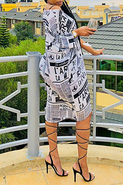 Long Sleeve One Shoulder Newspaper Print Knee-Length Dress