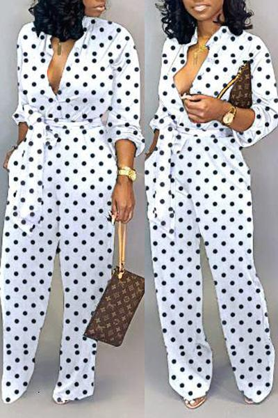 Classic Long Sleeve Crew Neck Polka Dot Jumpsuit With Belt