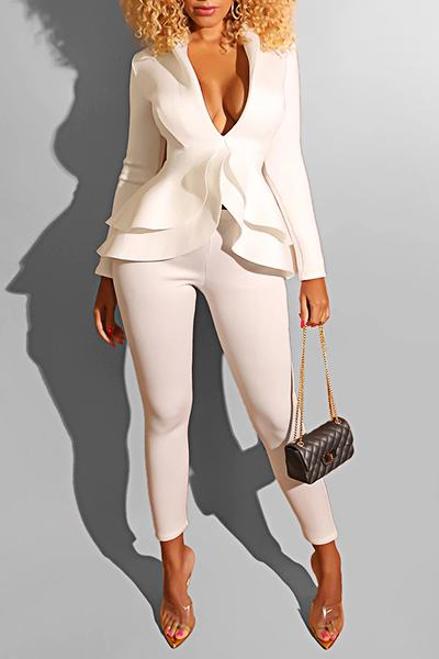 Feminine Long Sleeve Lapel Collar Solid Color Ruffles Legging Set