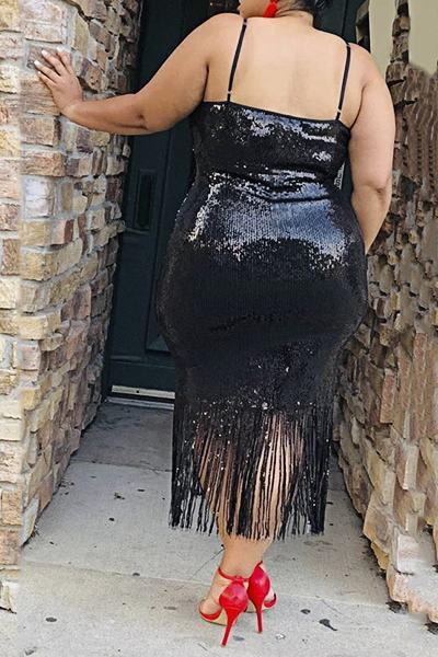 Stunning Tassels Suspenders Plus Size Sequins Tassels Dress