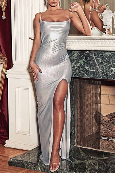 Party Sleeveless Suspenders Gilding Slit Party Dress
