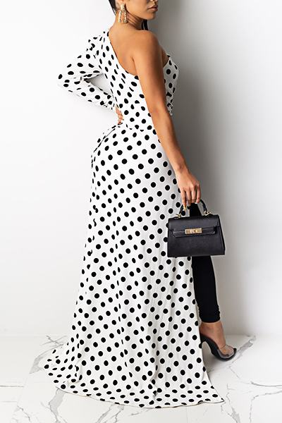 Dramatic One Sleeve Polka Dot Multi-Length Shrug Shirt Dress
