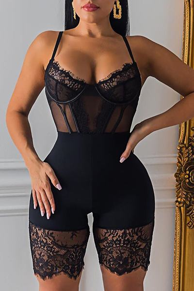 Sexy Sleeveless Suspenders Patchwork Lace Short Romper