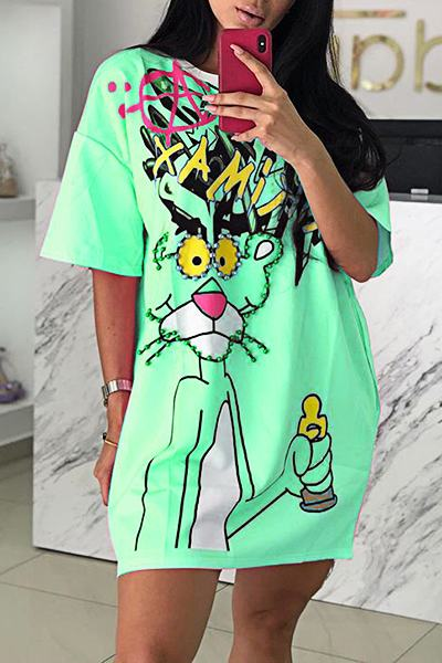 Laid Back Half Sleeve Loose Fit Pink Panther Print T-Shirt Mini Dress