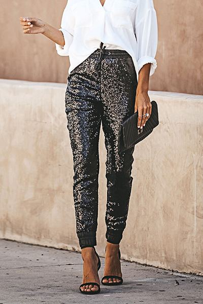Sparkly High Rise Tapered Plain Ankle-Length Sequins Pants