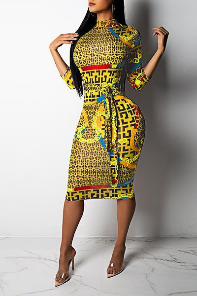3/4 Length Sleeve High Neck Geometric Print Knee-Length Pencil Dress