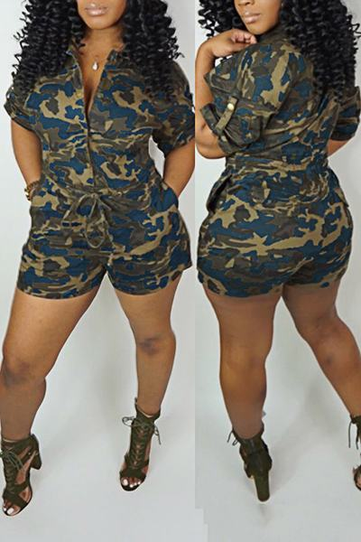 Playful Short Sleeve Shirt Collar Camouflage Tie Front Short Romper