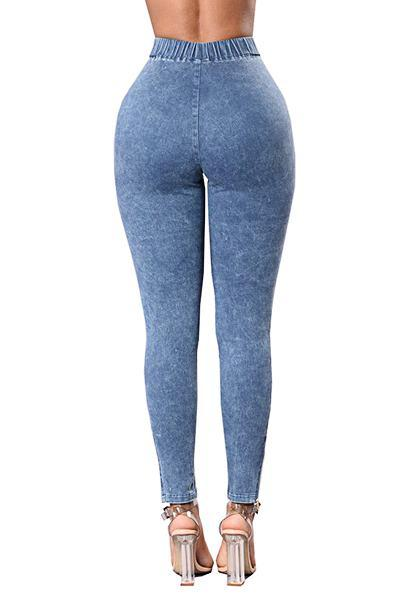 Chic High Waist Slim Fit Patchwork Denim Crinkles Jeans