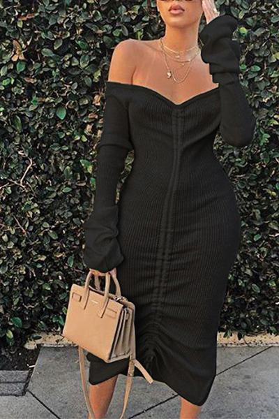 Chic Long Sleeve Off Shoulder Plain Ruched Midi Dress