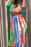 Feminine High Rise Round Neck Tie Dye Cropped Top & Skirt Set