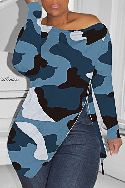 Cool Long Sleeve Slash Neck Camouflage Zipper Top