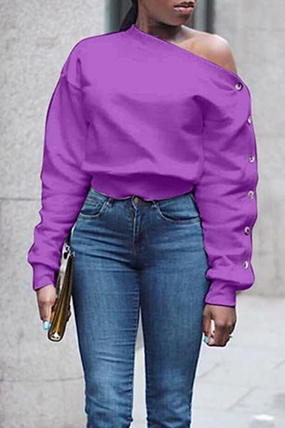Long Sleeve One Shoulder Plain Sweatshirt Top With Buttons