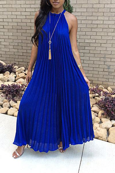 Glamorous Sleeveless Halter Neck Solid Color Pleated Dress