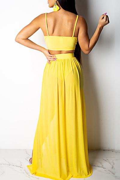 Flirty Sleeveless Spaghetti Strap Plain Long Two Piece Set