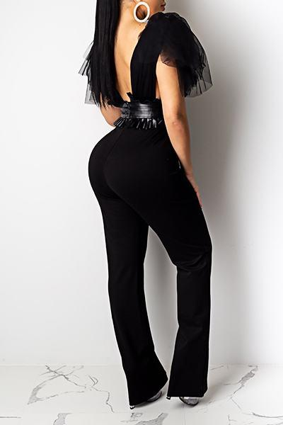 Feminine Sleeveless Deep V Neck Patchwork PU & Mesh Long Jumpsuit