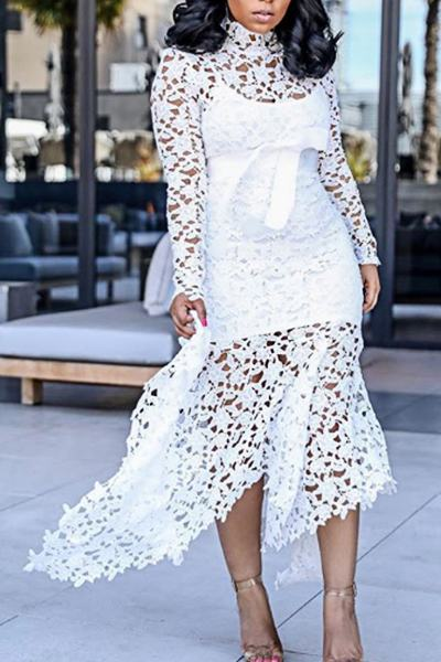 Elegant Long Sleeve High Neck Multi-Length High Low Lace Dress