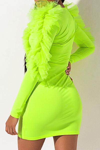 Elegant Ruffle Sleeve V Neck Plain Ruching Bodycon Dress
